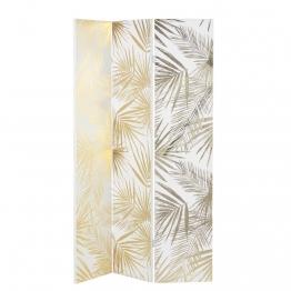Paravent mit Druckmotiv Blätter, weiß und goldfarben