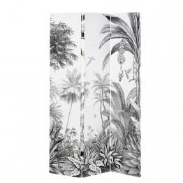 Paravent mit Druckmotiv Tropenwald, schwarz-weiß