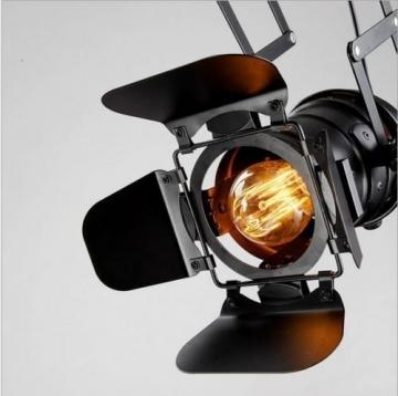 Pendelleuchte Industrial Glühbirne Nicht Enthalten,OUKANING Pendelleuchte Vintage E27 Lampe Industrial Schwarzes Deckenlampe Industrial Verstellbare Metallschiene Pendelbeleuchtung Für - 3