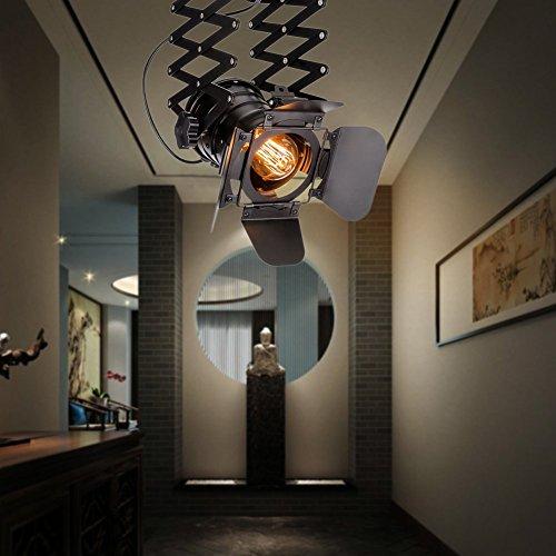 Pendelleuchte Industrial Glühbirne Nicht Enthalten,OUKANING Pendelleuchte Vintage E27 Lampe Industrial Schwarzes Deckenlampe Industrial Verstellbare Metallschiene Pendelbeleuchtung Für - 4