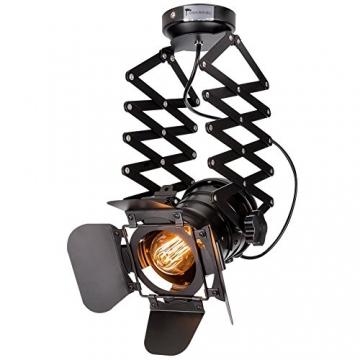 Pendelleuchte Industrial Glühbirne Nicht Enthalten,OUKANING Pendelleuchte Vintage E27 Lampe Industrial Schwarzes Deckenlampe Industrial Verstellbare Metallschiene Pendelbeleuchtung Für - 1