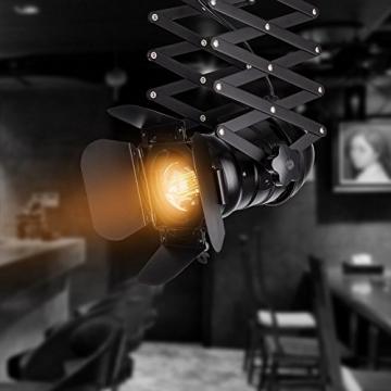 Pendelleuchte Industrial Glühbirne Nicht Enthalten,OUKANING Pendelleuchte Vintage E27 Lampe Industrial Schwarzes Deckenlampe Industrial Verstellbare Metallschiene Pendelbeleuchtung Für - 5