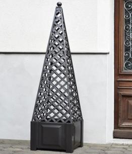 Pflanzkasten quadratisch anthrazit + Aufsatz Obelisk,1 Stück