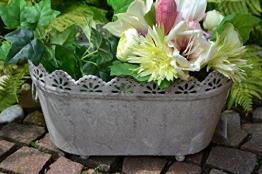 Pflanztopf , hübscher Jardinere-Zinktopf antik , praktisch + stabile Ausführung, Länge 37 cm- für Haus und Garten, frostsicher,