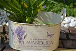 Pflanztopf , hübscher Zinktopf, Lavendel- praktisch und wasserdicht - stabile Ausführung,Länge mit Griff 28 cm, Br. 14,5 cm, Höhe 16,5 cm