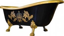 Pompöös by Casa Padrino Luxus Badewanne Deluxe freistehend von Harald Glööckler Schwarz / Gold / Gold 1695mm mit goldfarbenen Löwenfüssen - 1
