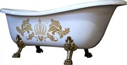 Pompöös by Casa Padrino Luxus Badewanne Deluxe freistehend von Harald Glööckler Weiß / Gold / Weiß 1560mm mit goldfarbenen Löwenfüssen - 1