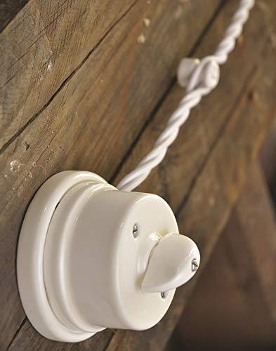 Porzellan Lichtschalter Retro Aufputz Schalter weiß Drehschalter nostalgischer Wandschalter | 2A bis 250V Abmessungen: Ø80 mm - h50 mm - 2