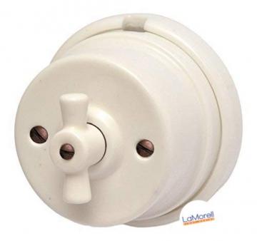 Porzellan Lichtschalter Retro Aufputz Schalter weiß Drehschalter nostalgischer Wandschalter | 2A bis 250V Abmessungen: Ø80 mm - h50 mm - 1