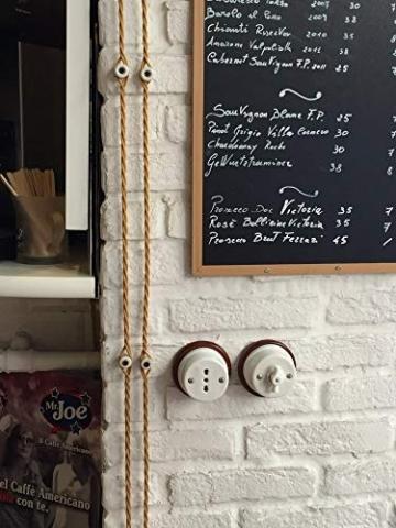 Porzellan Lichtschalter Retro Aufputz Schalter weiß Drehschalter nostalgischer Wandschalter   2A bis 250V Abmessungen: Ø80 mm - h50 mm - 3