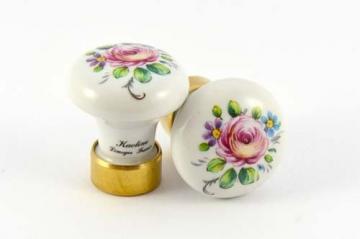Porzellanknopf aus Frankreich rund ROSE ANCIENNE 30 mm - Stilmelange Qualität aus Europa seit 1998