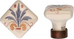 Porzellanknopf FIORATA viereckig Antikeisen 30 x 33 x 30 - Stilmelange Qualität aus Europa seit 1998