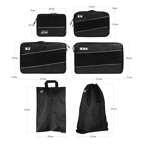 Premium Kompressions-Kleidertaschen I Ultraleichtes 6-teiliges Koffer-Organizer-Set I Platzsparende Packtaschen mit Kompression-Effekt I Reise-Pack-Würfel-Set - 4
