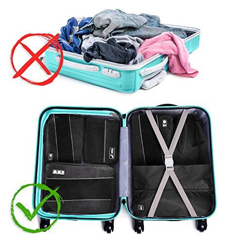Premium Kompressions-Kleidertaschen I Ultraleichtes 6-teiliges Koffer-Organizer-Set I Platzsparende Packtaschen mit Kompression-Effekt I Reise-Pack-Würfel-Set - 5