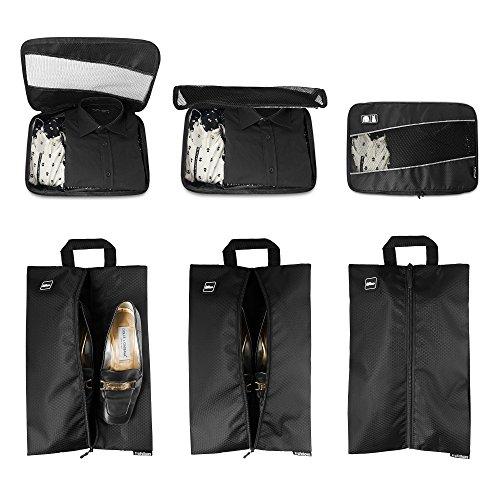 Premium Kompressions-Kleidertaschen I Ultraleichtes 6-teiliges Koffer-Organizer-Set I Platzsparende Packtaschen mit Kompression-Effekt I Reise-Pack-Würfel-Set - 6