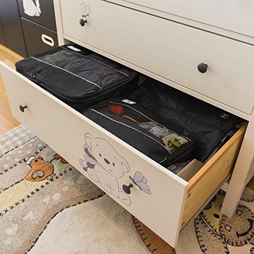 Premium Kompressions-Kleidertaschen I Ultraleichtes 6-teiliges Koffer-Organizer-Set I Platzsparende Packtaschen mit Kompression-Effekt I Reise-Pack-Würfel-Set - 8