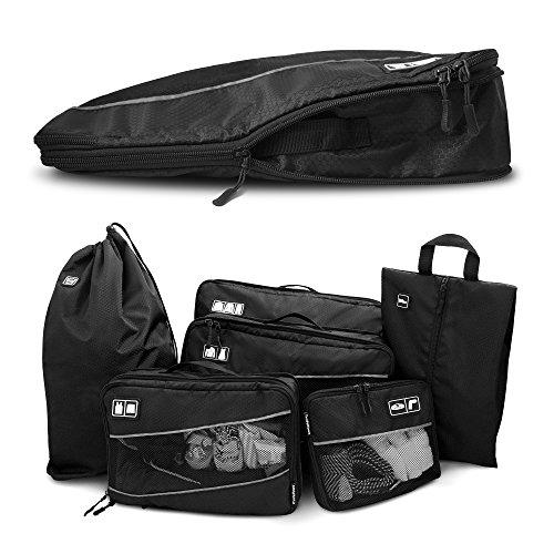 Premium Kompressions-Kleidertaschen I Ultraleichtes 6-teiliges Koffer-Organizer-Set I Platzsparende Packtaschen mit Kompression-Effekt I Reise-Pack-Würfel-Set - 1