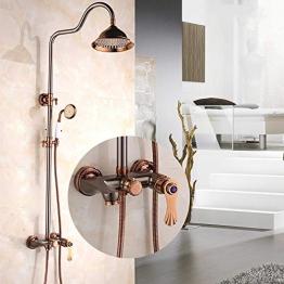 Professionelle Wannen-Mischer-Hahn-Wand befestigte Dusche-Set Rose Gold Komplette Kupferhandbrausen Duschsystem,8inch - 1