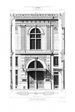 Vlies Wandbild 270 x 180 cm Deco Fototapete Architekturzeichnung klassische Fassade schwarzweiß Digitaldruck - 1