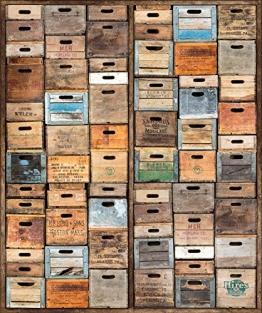 Vlies-Wandbild 270 x 225 cm Deco Fototapete Holzkisten Vintage bunt Holzoptik Digitaldruck - 1