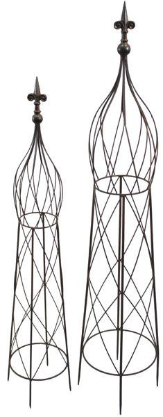 Rankhilfe Blumengitter Rosen MALIGO Metall dunkelbraun 2er-Set versch. Höhen
