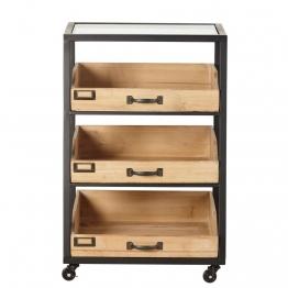 Regal mit 3 Schubladen aus schwarzem Metall und Tannenholz