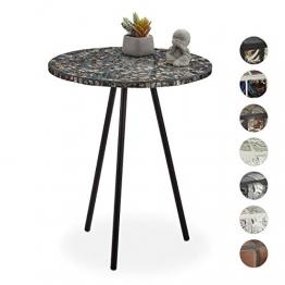 Relaxdays Beistelltisch Mosaik, runder Ziertisch, handgefertigtes Unikat, Mosaiktisch, HxD: 50 x 41 cm, schwarz-gold - 1