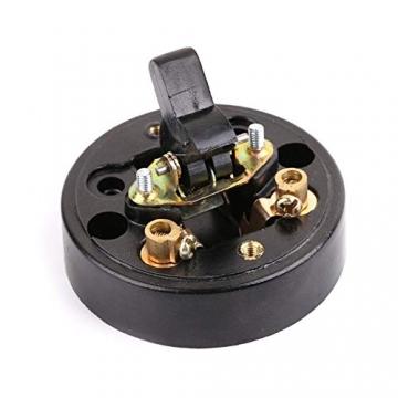 Retro Einzelschalter Metall und Kunststoff Rund Lichtschalter Aufputz Wandleuchte Knopf altmodisch - 2