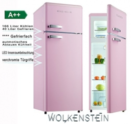 Retro Kühl-Gefrier-Kombination Pink Glanz GK212.4RT A++ 206 Liter Nostalgie Design Kühlschrank - 1
