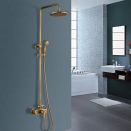 ROSE Duschsystem Antik, Vintage Dusche mit Handbrause und 8 Zoll Regendusche Kopf | Komplett Dusche Armatur mit Stange höhenverstellbar | Antik Messing Finish - 1