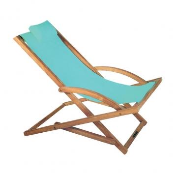 Royal Botania - Beacher Sonnenliege - hellblau/Batyline/Gestell teak/inkl. Nackenkissen