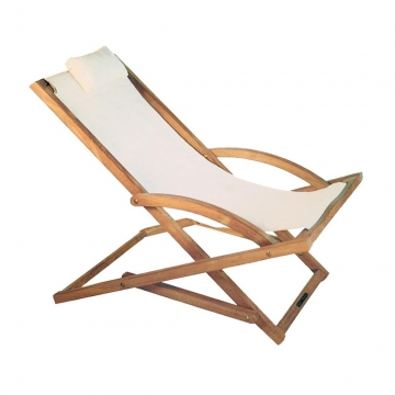 Royal Botania - Beacher Sonnenliege - weiß/Batyline/Gestell teak/inkl. Nackenkissen