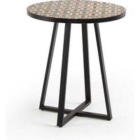 Runder Beitisch mit Steinplatte und Mosaik Muster Retrostil