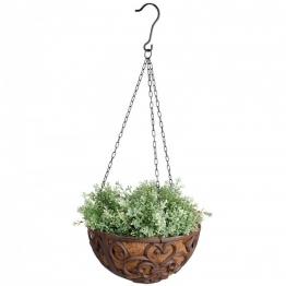 Rustikale Blumenschale Pflanzschale zum Aufhängen Gusseisen mit Kette Ø30cm