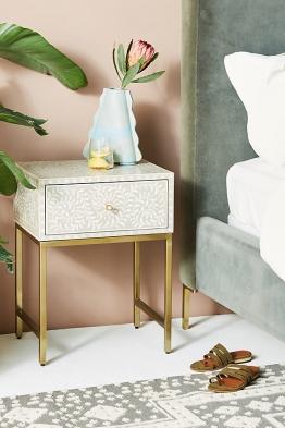 Scroll Vine Nachttisch mit Einlegearbeiten - Light Grey