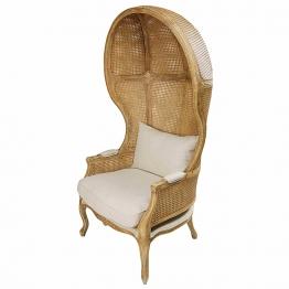 Sessel aus Gummibaumholz und gealtertem Rattan