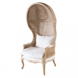 Sessel aus Rohrgeflecht, weißer Leinenbezug
