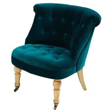 Sessel aus taubenblauem Samtbezug Constantin