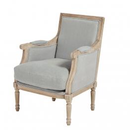 Sessel mit Bezug aus gewaschenem Leinen, hellgrau