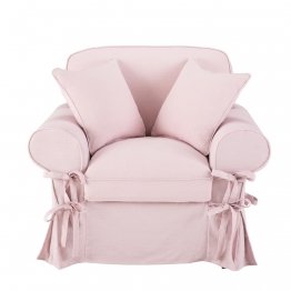 Sessel mit Leinenbezug, hellrosa