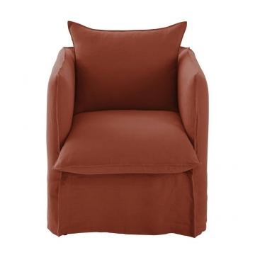 Sessel mit terrakottafarbenem Leinen-Crinkle-Bezug Louvre
