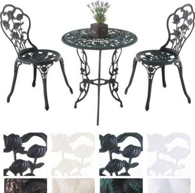 Sitzgruppe GANESHA, Garten Set Gusseisen, antik, Tisch rund Ø 65