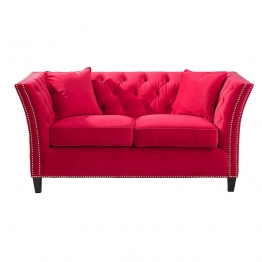 Sofa Chesterfield Modern Velvet Raspberry Red 2-Sitzer, 172 × 87 × 82 cm