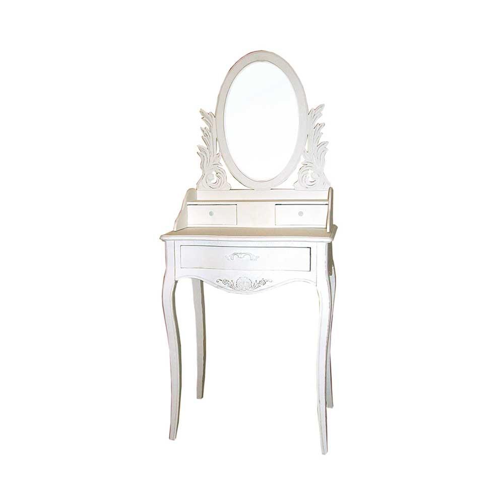 spiegel schminktisch in wei verziert landhaus shop ambiente mediterran. Black Bedroom Furniture Sets. Home Design Ideas