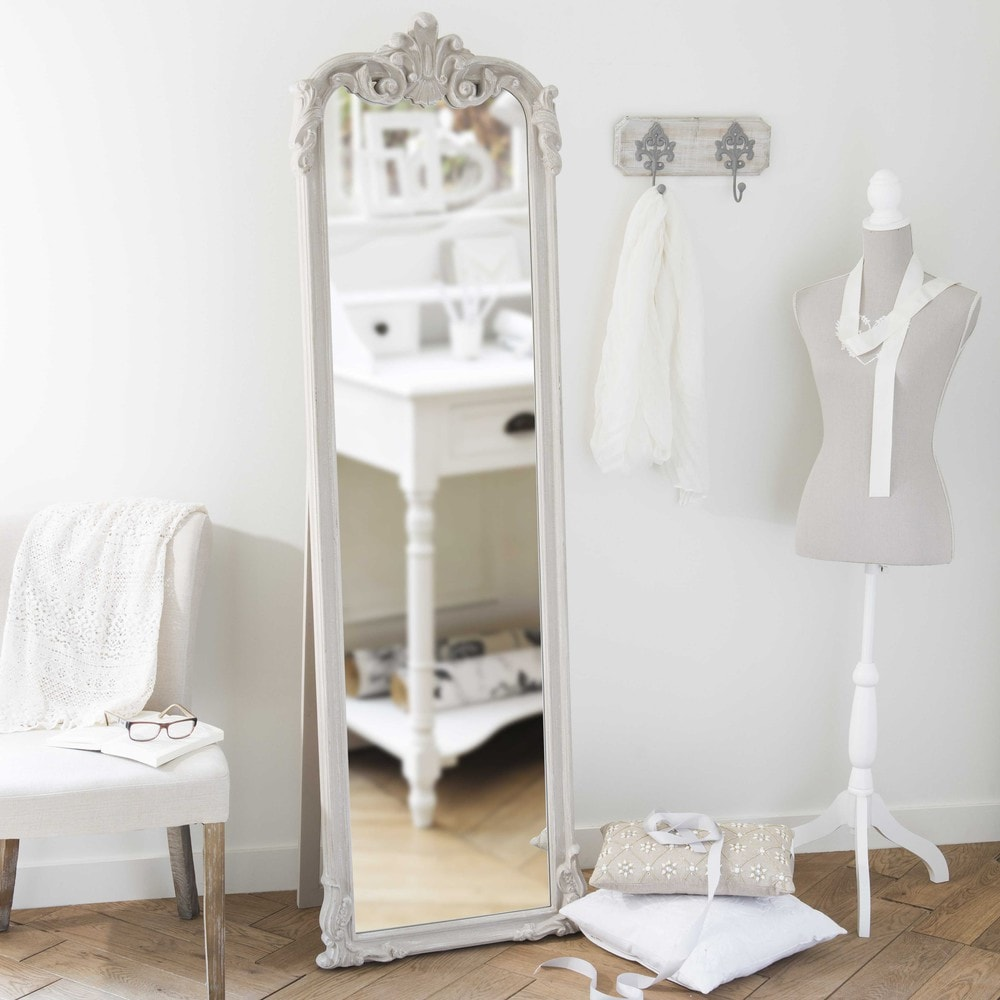 Standspiegel aus holz beige h 178 cm elina shop ambiente for Espejos de cuerpo completo