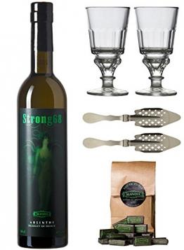 Starkes Absinth Set - Komplett mit 2x Absinth Gläsern und 2x Absinth Löffeln und Absinth Zucker - 1