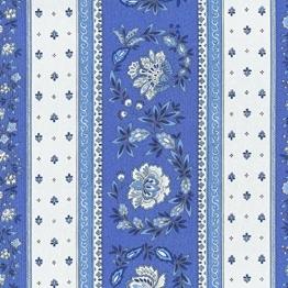 Stoff Meterware Baumwolle - Provençal Streifen Blumenstoff (Französisches Blau & Kalkweiß) | 100% Baumwolle Stoff | Stoffbreite: 160 cm (pro Laufmeter)* - 1