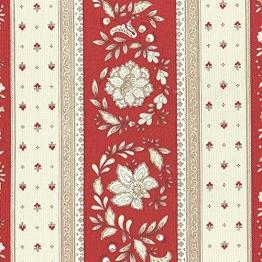 Stoff Meterware Baumwolle - Provençal Streifen Blumenstoff (Renaissance Rot & Karamellcreme) | 100% Baumwolle Stoff | Stoffbreite: 160 cm (pro Laufmeter)* - 1