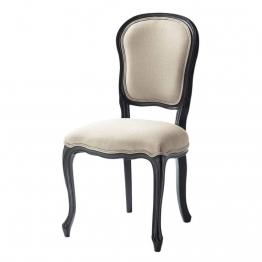 Stuhl aus beigefarbenen Leinen