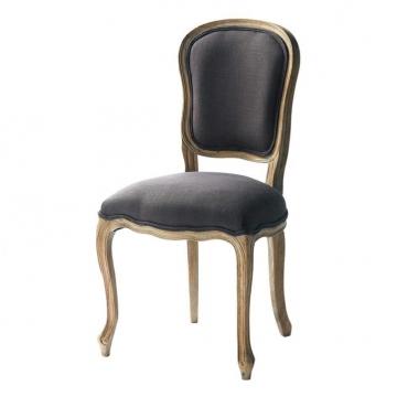 Stuhl aus Leinen, grautaupe Versailles